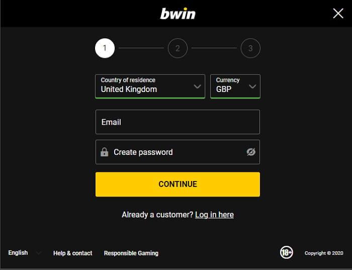bwin Registration Form